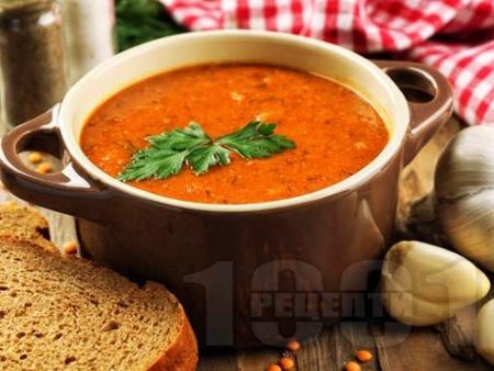 Крем супа от червена леща с кокосово мляко, сушени домати, чесън и джинджифил - снимка на рецептата